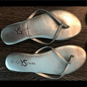 Yosi Samra Silver Leather Flip Flops